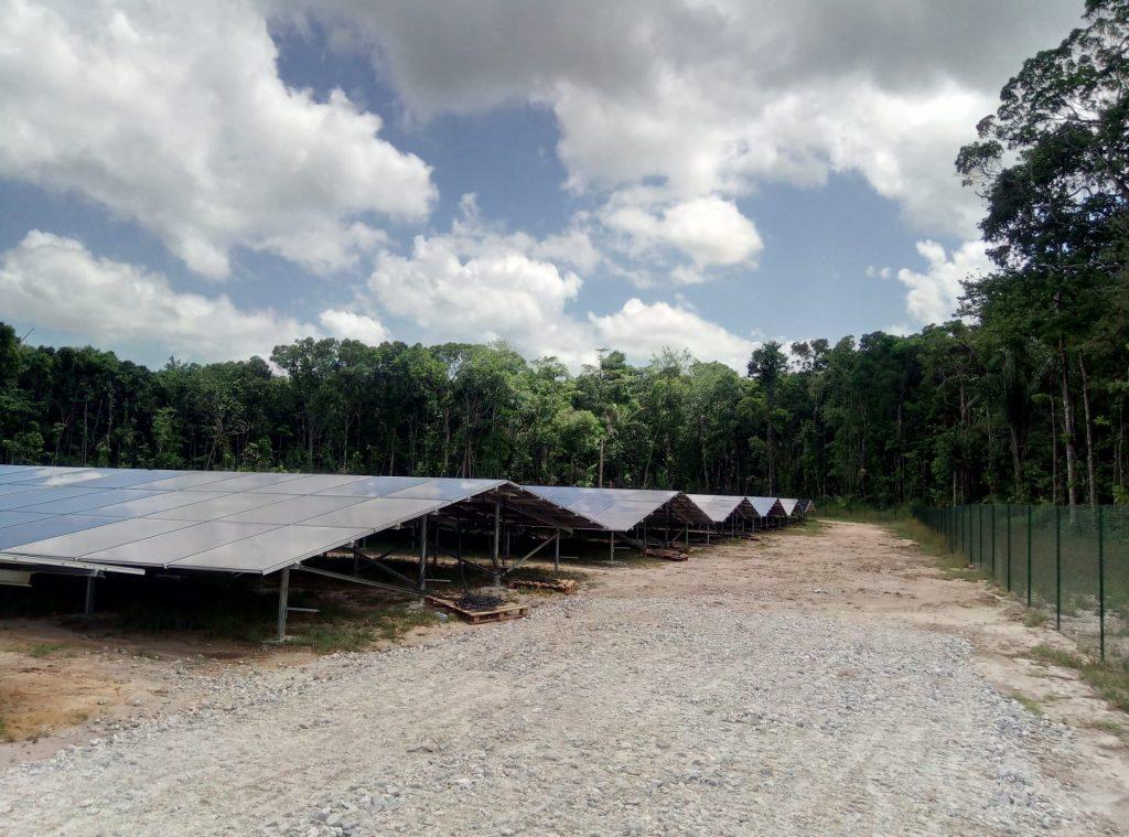 campos com paineis fotovoltaicos e arvores